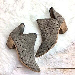 Lucky Brand perforated suede ankle booties 9.5